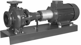 NRB CENTRIFUGAL PUMPS WITH BASE-PLATE AND COUPLING. 2 AND 4 POLES.